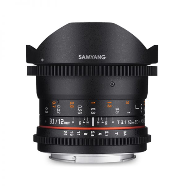 Samyang 12mm T3.1 VDSLR ED AS NCS Fish-Eye Video Lens