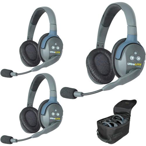 Eartec Ultra-Lite Headset System for 3 User Talkback Intercom